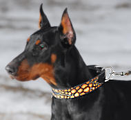 Unique Handpainted leather dog collar for Dobermann