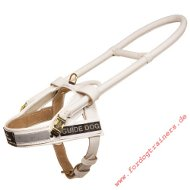 Guide Dog Harness Made of White Leather|Guide Harness