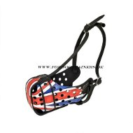 "Leather Dog Muzzle with Painting ""Great Britain"""