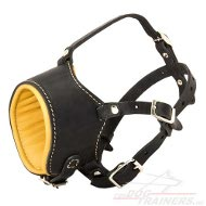 Leather Dog Muzzle made of with Nappa Padding