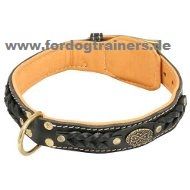 Braided Padded Leather Dog Collar Brown Online buy