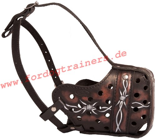 Leather dog muzzle with painting buy