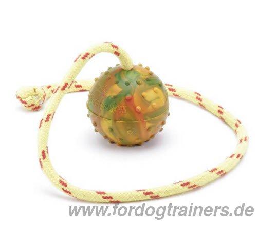Hundeball aus genipptem Naturgummi am Seil fürs Spielen mit dem Hund